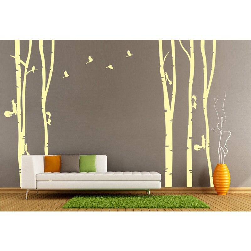 Personnalisé arbre & oiseaux vinyle Sticker Mural Mural amovible chambre décoratif grand arbre jaune oiseaux stickers muraux décor à la maison