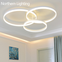 New Arrival Designer Creative Circle Rings Modern LED Ceiling Lights For Livingroom Bedroom Remote Control Ceiling