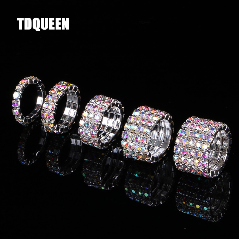 TDQUEEN 1-5 Rows AB Crystal Stone Rings Silver Plated Bridal Wedding Rhinestone Elastic Stretch Rings for Women (2)