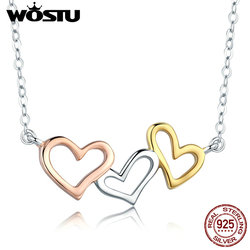 WOSTU 100% 925 Sterling Silver Love For Friend, Family , Lover Heart Pendant Choker Necklace For Women Fine Jewelry Gift  CQN268