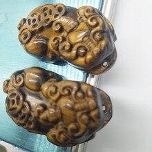 лучшая цена A pair of natural tiger eye crystal pendant, Oriental quartz crystal stone devil amulet love feng shui