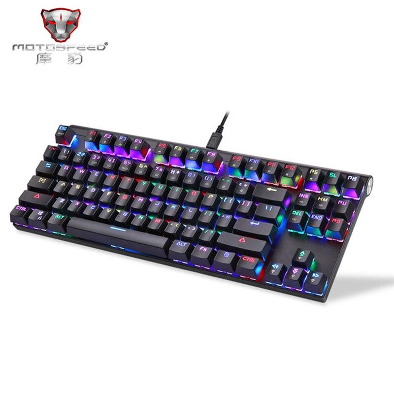 Motospeed CK101 clavier de jeu mécanique rétro-éclairage clavier de jeu 87 touches interrupteur bleu/rouge pour tablette de bureau