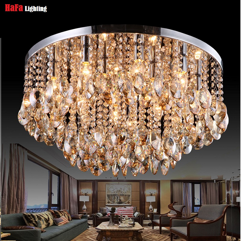 Image 2 - Round Crystal Ceiling Light For Living Room Indoor Lamp luminaria home decoration Crystal Ceiling Light Fixtures For Bedroom-in Ceiling Lights from Lights & Lighting