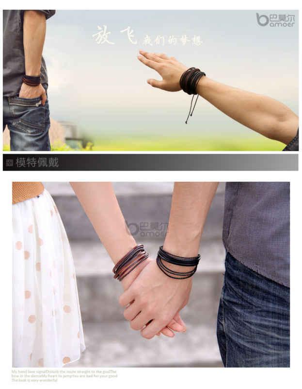 Gorąca sprzedaż Wrap bransoletka z prawdziwej skóry pleciona lina dla mężczyzn kobiety moda biżuteria przyjaźń bransoletka prezent szybka wysyłka XCJ024