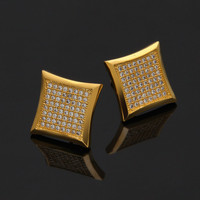 Sparkling Yellow Gold Filled Square 8 Row Pave Crystal Stud Earrings For Men Or Women 14cm