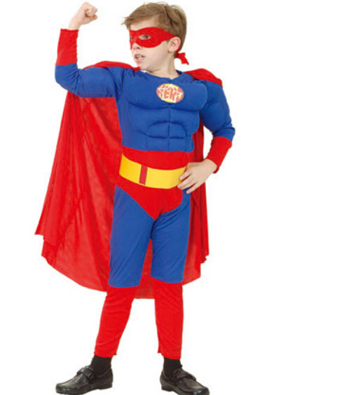 110-140cm new fashion for kid boy child superman Costume Superhero Childrens Halloween Cosplay Costumes Boys Kids party gift