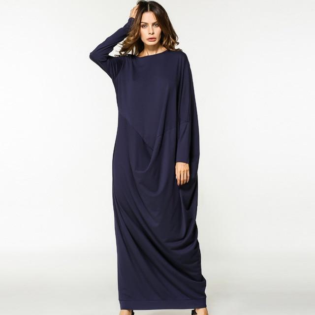 ab72032942 2017 Islamic Muslim cotton bats sleeves loose style plus size abayas dress  in Dubai Turkish ladies