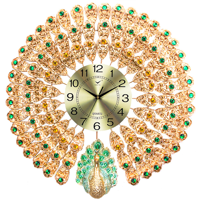 Large Peacock Watch Mute Clock Wall Clock Modern Design Living Room Home Fashion Decorating Quartz Clock Big Wall Clock