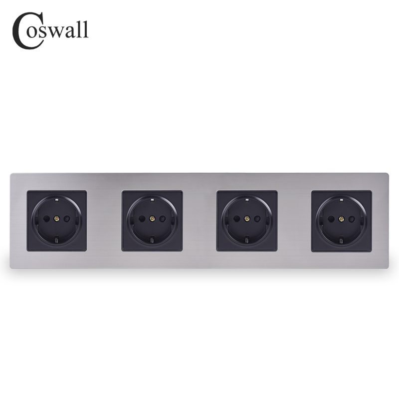 COSWALL Stainless Steel Panel 4 Gang Wall Socket 16A EU Russia Spain Electrical Outlet Silver Black Color Child Protective Door
