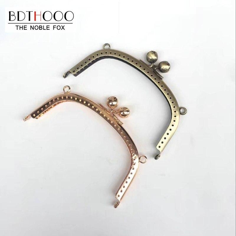 BDTHOOO 2pcs 12.5cm Metal Purse Frame Handle For Clutch Handbag Hinge DIY Kiss Clasp Lock Bronze Gold Rose Head GoldBag Hardware