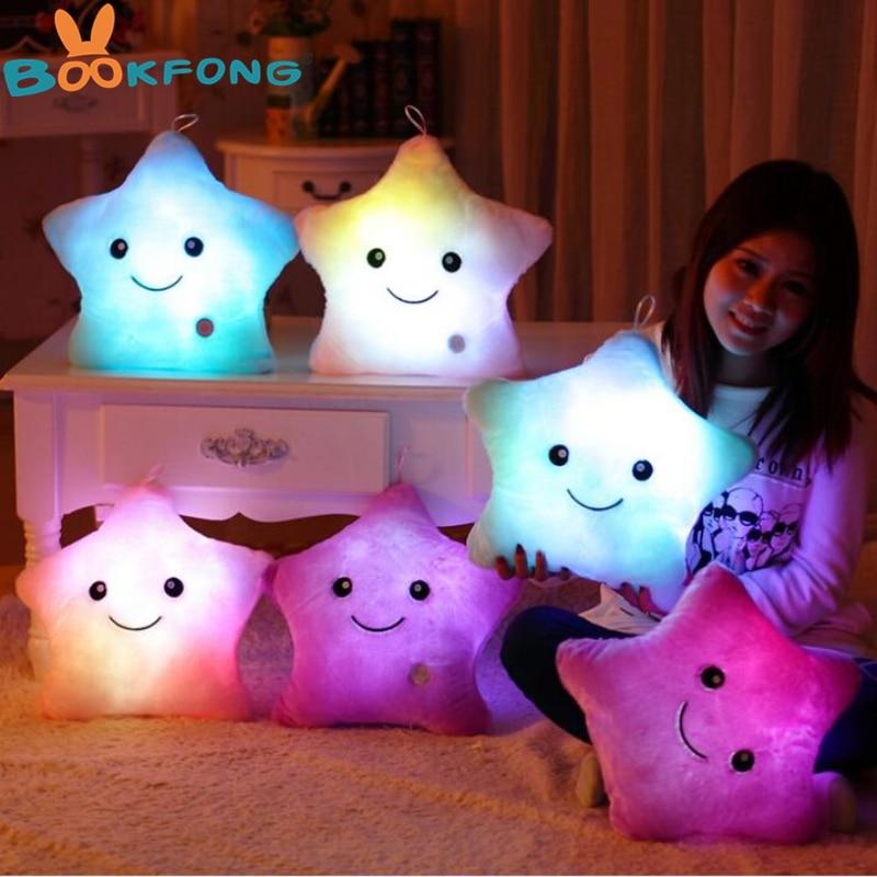 40*35CM 1pcs Stuffed Dolls Colorful Light Star Pillows Plush Toys For Girlfriend Christmas Gift beanie babies yo gabba gabba plex 35cm plush toys