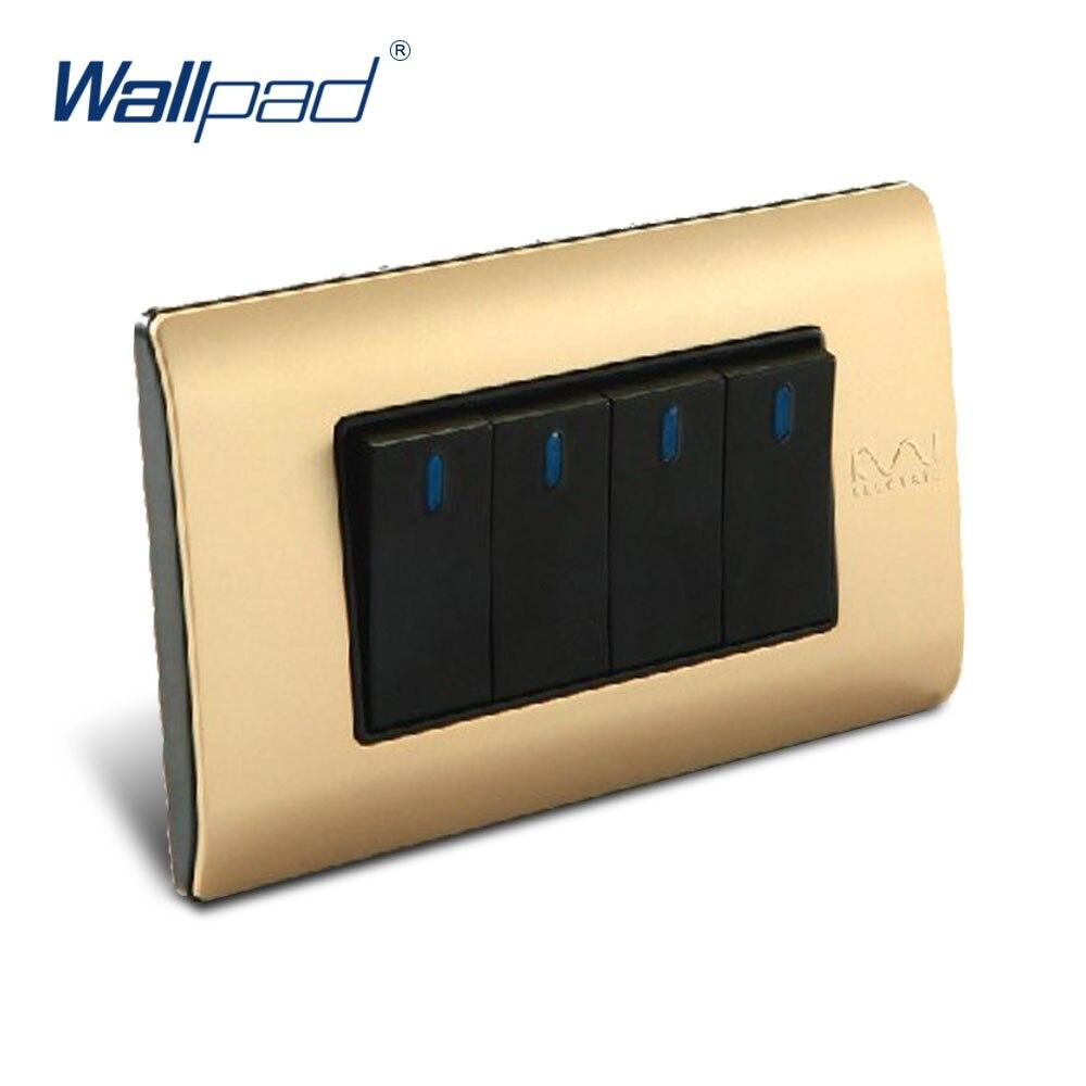 Free Shipping, Wallpad Luxury Wall Switch Panel, 4 Gang 2 Way Switch, Plug, Socket, 118*72mm, 10A, 110~250V  free shipping wallpad luxury wall switch panel 6 gang 2 way switch plug socket 197 72mm 10a 110 250v