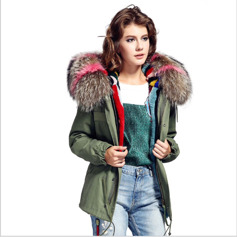 Women Winter Fashion Natural Raccoon Fur Hooded Army Green Real Rabbit Lining Jacket Coat Ladies American Supper Quality Outwear 2017 winter new clothes to overcome the coat of women in the long reed rabbit hair fur fur coat fox raccoon fur collar
