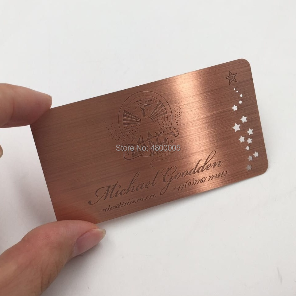 Professional Fancy Luxury Membership Promotion Cards Blank Copper Rose Gold Plated Business Card Etched Metal Card