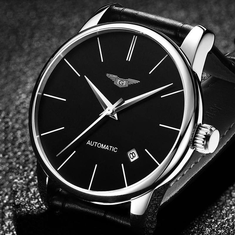 Prix pour Mécanique automatique mens montres haut marque de luxe guanqin étanche bracelets en cuir ultra-mince de mode relogio masculino