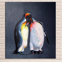 פינגווינים חמוד בעבודת יד מודרנית מופשטת בית תפאורה אמנות קיר תמונת ציור שמן על בד ציורי אקריליק חיה צבוע