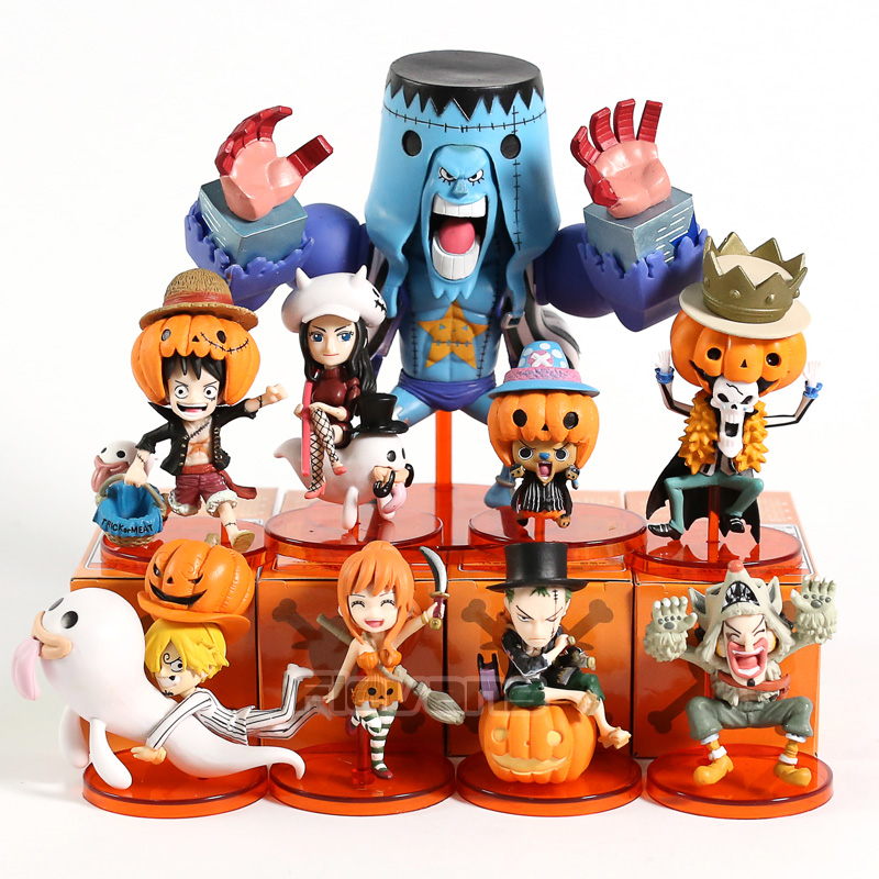 Halloween 9Pcs//Set One Piece WCF Luffy Sanji Nami Roronoa Zoro Brook PVC Figure