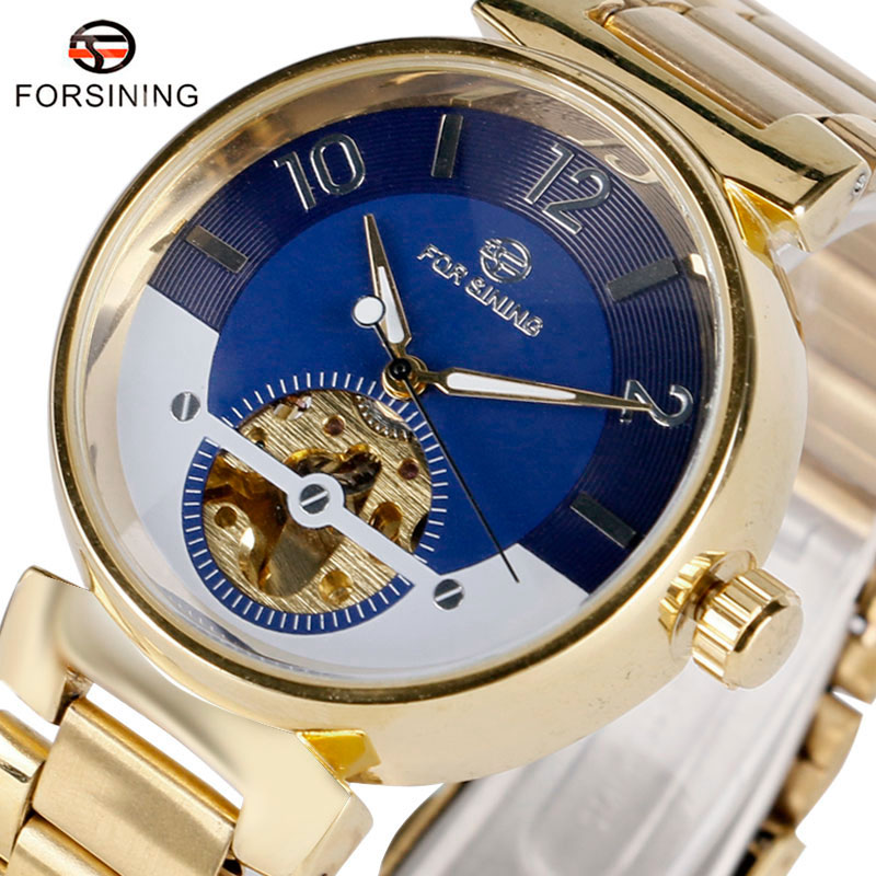 Top Brand FORSINING Luxury Automatic Mechanical Watch Men Golden Band Wrist Watches Men's Black/Blue Round Dial Clock Gift 2017 ultra luxury 2 3 5 modes german motor watch winder white color wooden black pu leater inside automatic watch winder