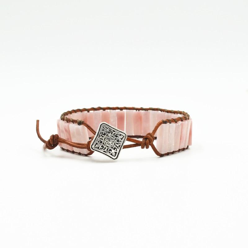 Women Bracelet Jewelry Natural Pink Opal Stone Tube Beads Leather Wrap Bracelet Girlfriend Creative Gifts in Wrap Bracelets from Jewelry Accessories