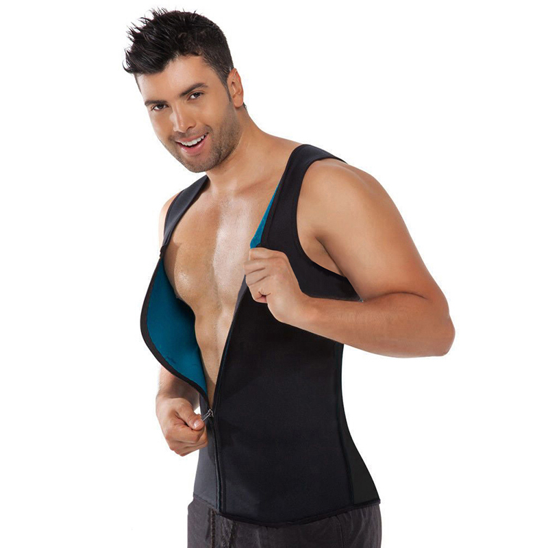 Burning Man Body Shaper Slimming Belt Belly Sweat Sauna Vest <font><b>Neoprene</b></font> Hombre Zipper <font><b>T</b></font> <font><b>Shirts</b></font> Waist Trainer Corset Weight Loss image
