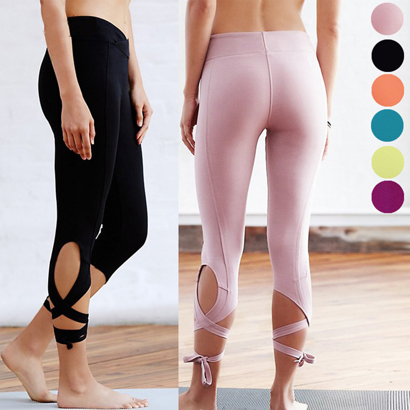 DANENJOY Cross Yoga High Waist Ballet Dance Sporting Leggings Bandage Multiple Colour Fitness Tight Yoga Cropped Pants 2018