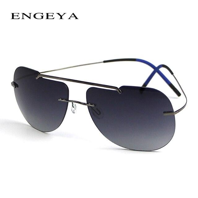 ENGEYA 2016 Titanium Rimless Sunglasses Men Women Brand Designer Luxury Fishing Driving Sunglasses Fashion Super Light Eyewear