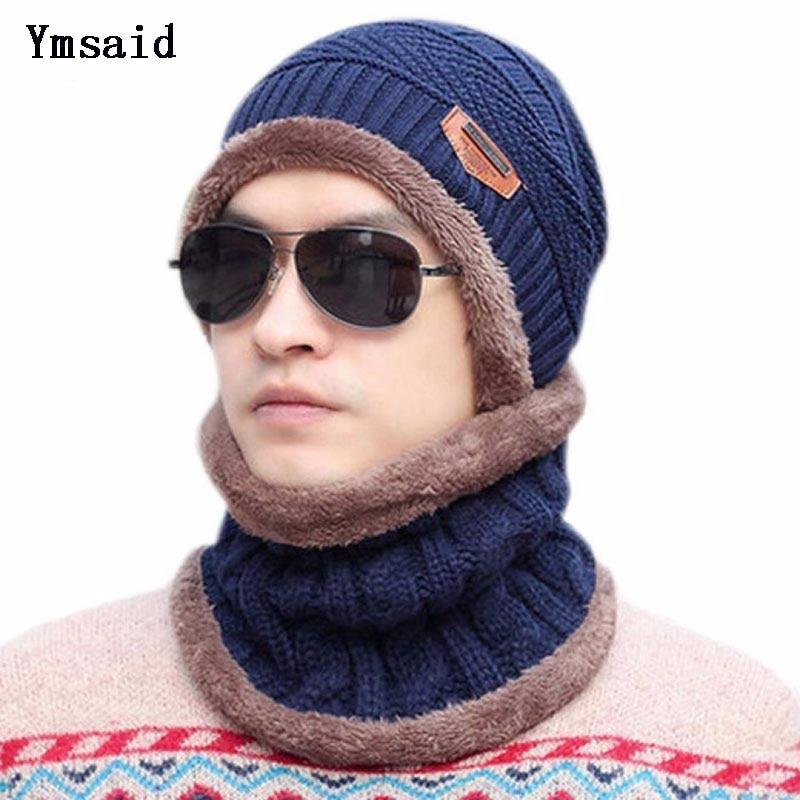 Ymsaid Neck Warmer Winter Hat Knit Hats Scarf 2Pcs Set For Men Women Knitted Hat Beanie Ski Hat Skullies Beanies