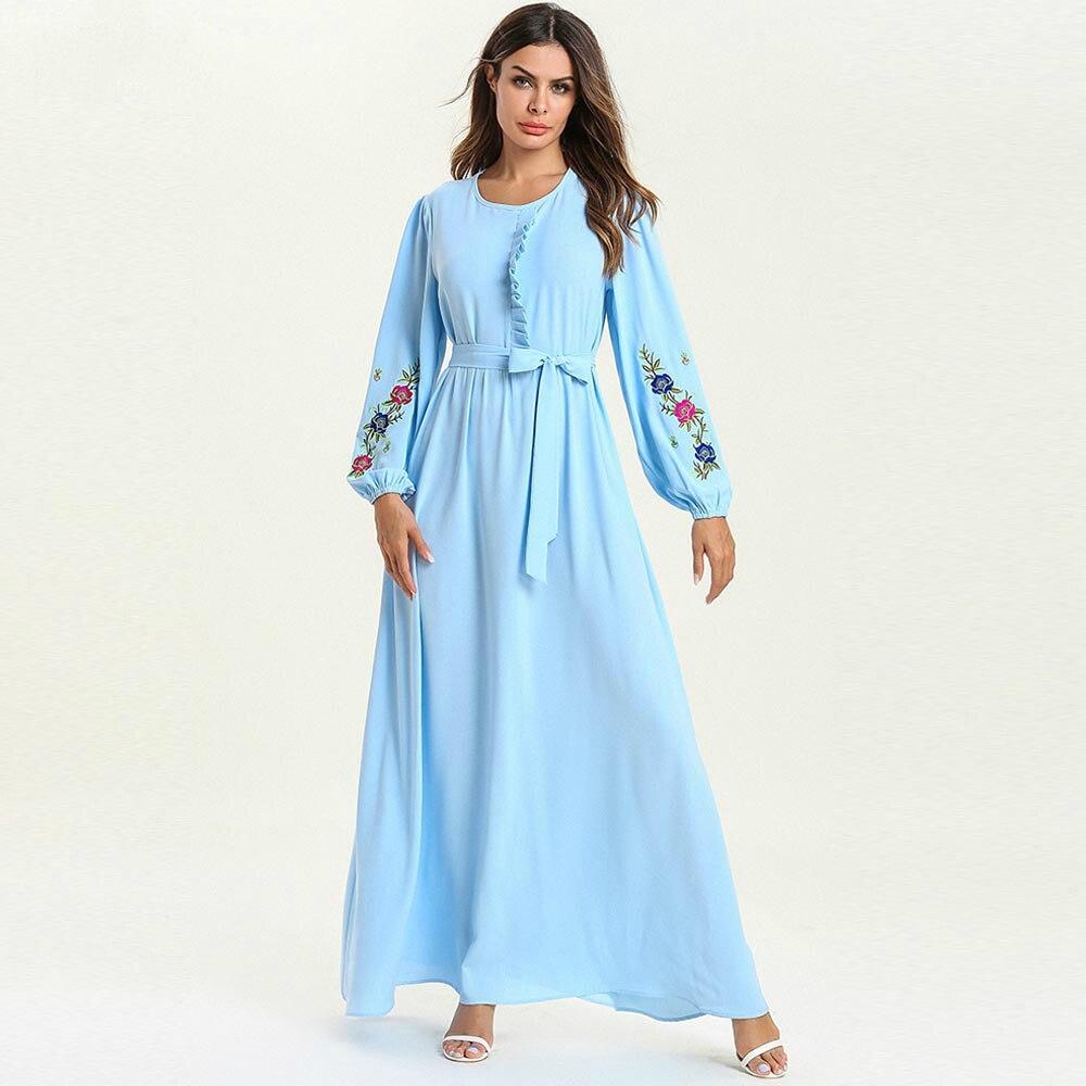 Robe élégante à manches longues broderie florale moyen-orient arabe robe musulmane décontracté longues robes Maxi avec ceintures T7610