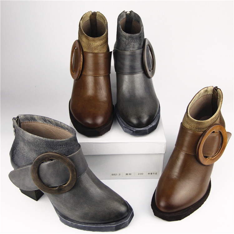 Hot Sale Winter Womens Chelsea Boots Online Genuine Leather Ankle Boots Fashion Grey Handmade Casual Boots