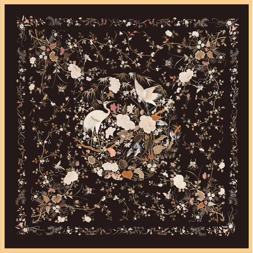Crane Prints 100% Twill Silk   Scarf     Wraps   Shawl Foulard Head   Scarves   35