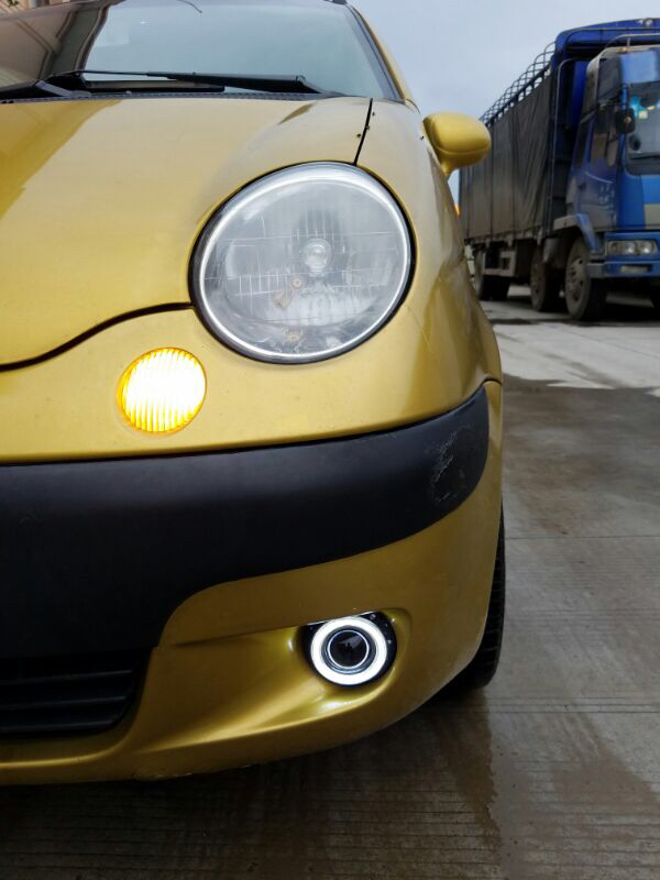 цена на eOsuns COB angel eye led daytime running light DRL + Fog Light + Projector Lens + fog lamp cover for chevrolet spark