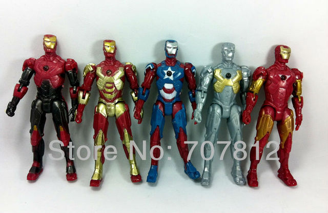 "2013 New Arrival Iron Man 3 action figures led lighting  5pcs/set  13.5cm 5"" The Avengers action figures free shipping"