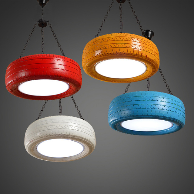 Retro loft creative Rubber tires pendant lamp dinning room living room LED pendant lingting lampada 110v 220v free shipping