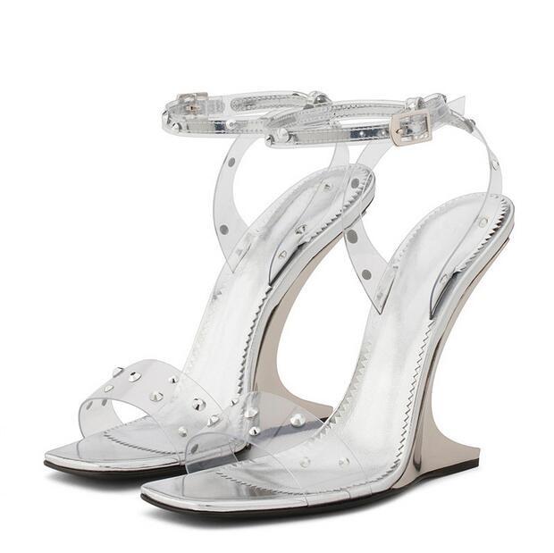 aa31405f5bd Sexy Summer Wedges Strange Sandals Peep Toe PVC Transparent Jelly Shoes  Women Sandal Silver Stud Rivets Gladiator Sandals - aliexpress.com -  imall.com