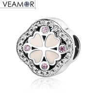 VEAMOR 100 Pure 925 Sterling Silver Pink Enamel Hearts Clover Flowers Charms Beads Fit Pandora Bracelets