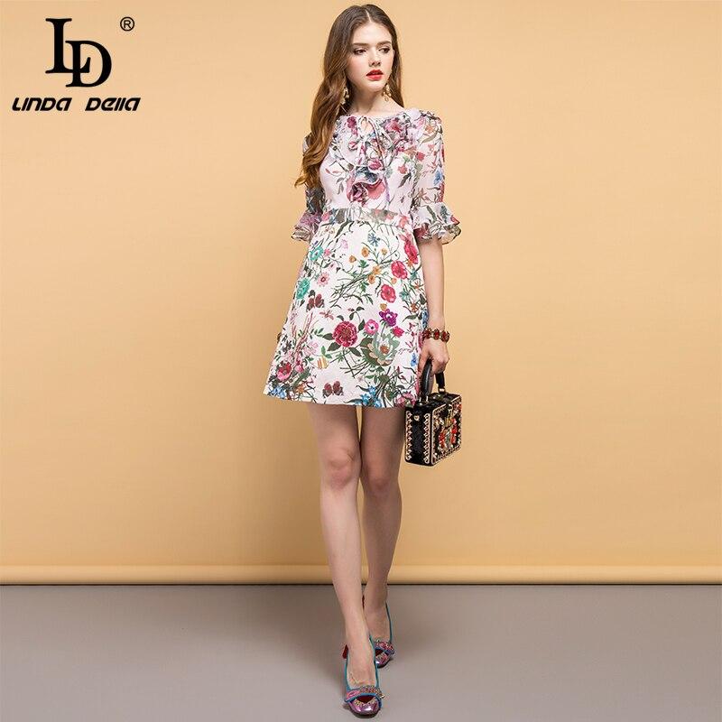 LD LINDA DELLA Neue Mode Designer Sommer Kleid frauen Fliege Rüschen Floral Gedruckt Elegante Vintage Urlaub Damen Kleider-in Kleider aus Damenbekleidung bei  Gruppe 2