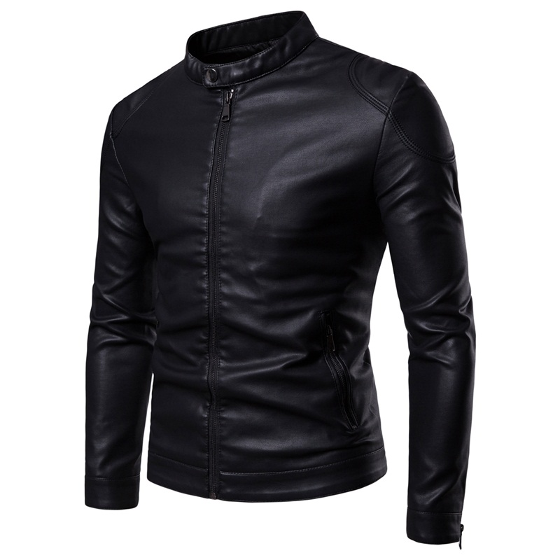 Men Leather Jackets Jackets And Coats 2019 New Simple Stand Collar Men's Leather Jacket Simple Style Leather Jacket Men