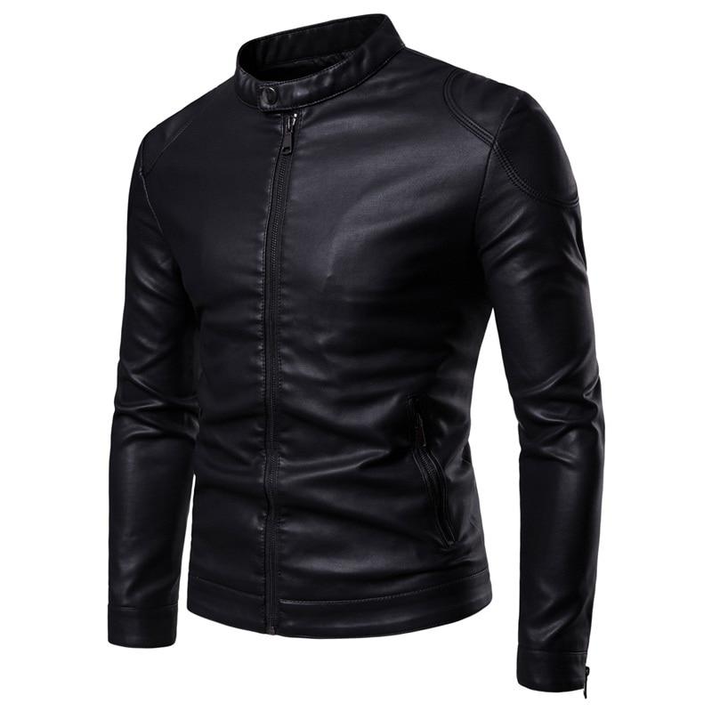 Men Leather Jackets Jackets and Coats 2019 New Simple Stand Collar Men's Leather Jacket Simple Style Leather Jacket Men