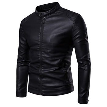 Men Leather Jackets Jackets and Coats 2020 New Simple Stand Collar Men's Leather Jacket Simple Style Leather Jacket Men leather jacket men men jacket winter leather faux fur coat men coat men leather jacket men leather jackets jackets and coats