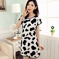 Women Cartoon Polka Dot Sleepwear Short Sleeve Sleepshirt Sleepdress