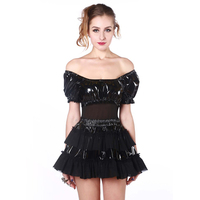 Plus Size S XXL Black PVC Dresses Latex Sexy Punk Gothic T Shirt Exotic PU Leather