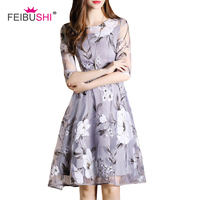 FEIBUSHI Summer Chiffon Dress See through Neck Floral Blend Skater Dress Vestidos With Print Fashion Chiffon Dress