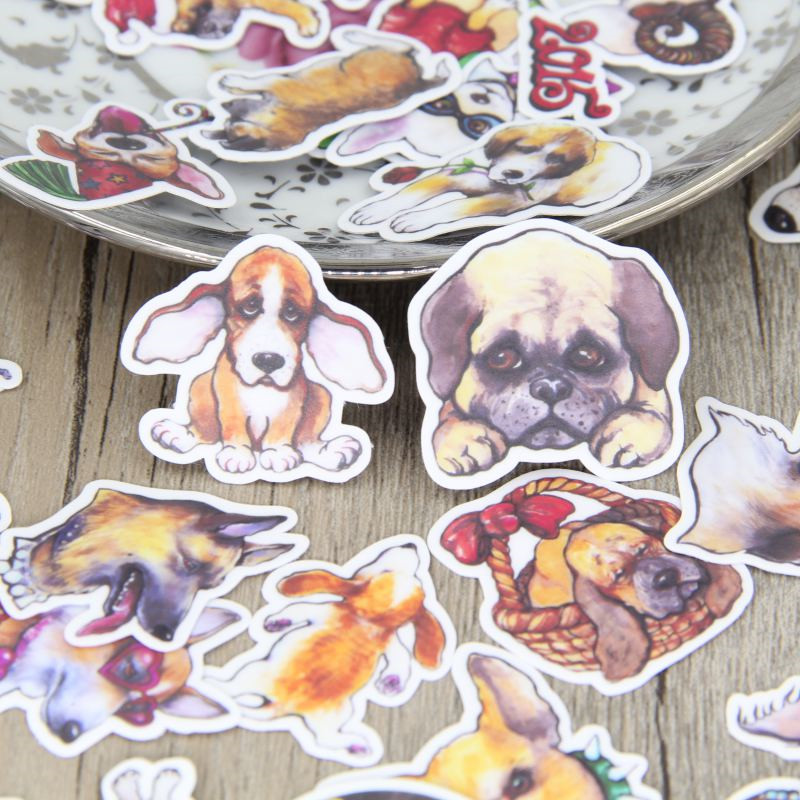 40 Pcs Cute Dog Expression Papers Toys Stickers Flakes  For Diary Car Decoration Diy Scrapbooking Children Sticker