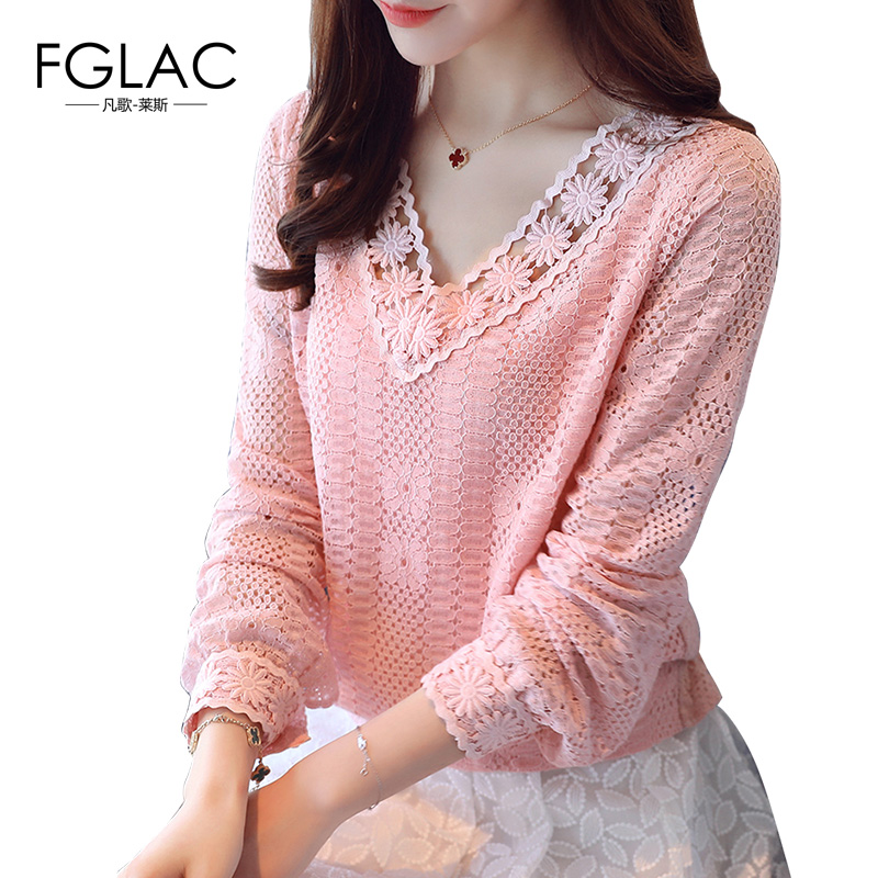 Best buy ) }}FGLAC Women blouse shirt New Arrivals 2018 Spring long sleeve blouse V-Neck Lace