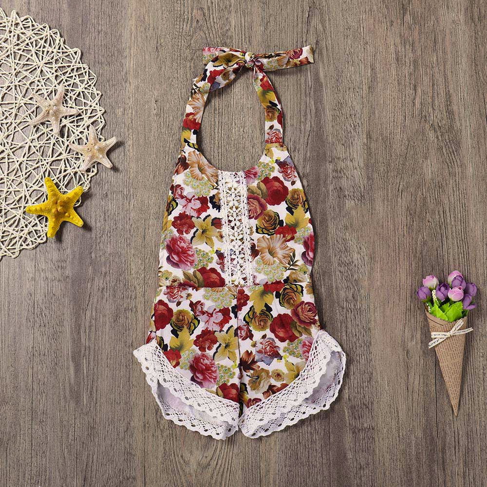 MUQGEW Summer Romper Baby Girls Infant Floral Lace Backless Straps Clothes Jumpsuit Romper Ropa Recien Nacido YF2
