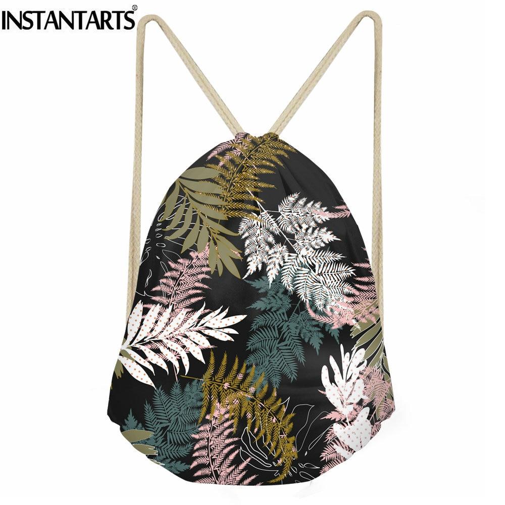 INSTANTARTS Tropical Forest Printing String Backpacks Women Casual Small Canvas Drawstring Bag Girls Ladies Beach Bagpack Sack