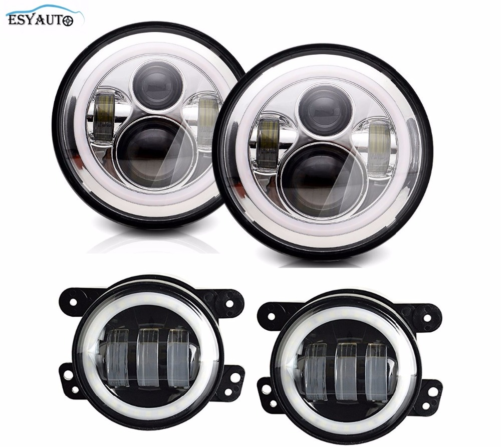 4 inch Fog Lights Projector LED Auxiliary Lamp + 7 inch Headlights Angel eyes Halo Ring White DRL For Jeep Wrangler TJ 6 inch led headlights eagle light hi lo beam halo ring angel eyes x drl for offroad jeep wrangler front bumper fog light