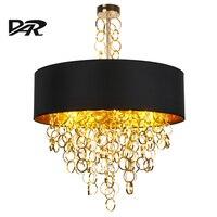 2017 Post современный светодиодный подвесные светильники для Гостиная диаметр 45/60/80 см черный + золотой ткани абажур внутреннего освещения Lamparas