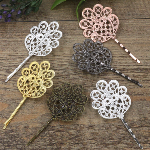 20 PCS 36*41mm Copper Flowers Hairpins Cameo Tray Setting Barrettes Flower Pad Base Hair Accessories DIY Jewelry Findings