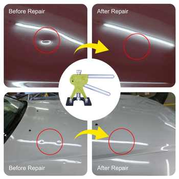 Super PDR Tools Paintless Dent Repair Tool Kit Hot Melt Glue Gun Auto Dent Pullers Suction Cup Dent Pulling Bridge Glue Tabs Set